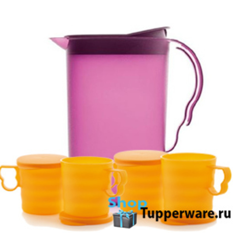 Кувшин в фиолетовом цвете и кружки в оранжевом цвете Очарование