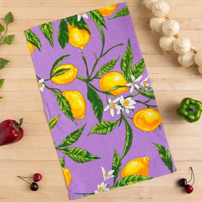 Полотенце вафельное Collorista Лимоны, цвет сиреневый фото