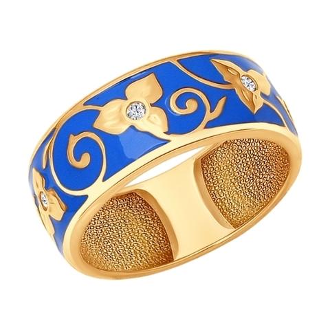Серебряное кольцо с эмалью и позолотой