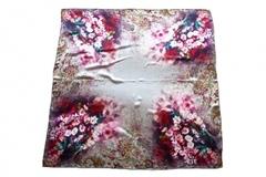 Итальянский платок из шелка белый с цветами 0276