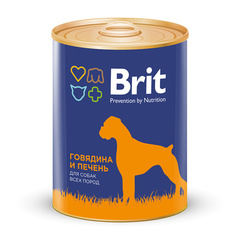 Консервы для собак, Brit Premium, с говядиной и печенью