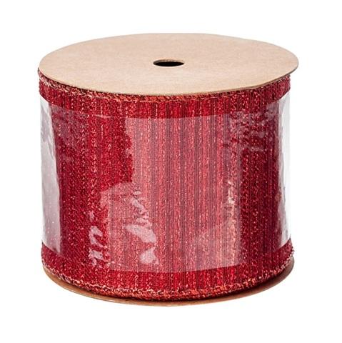 Лента декоративная металлик, размер:60мм х 3м, цвет:красный в полоску