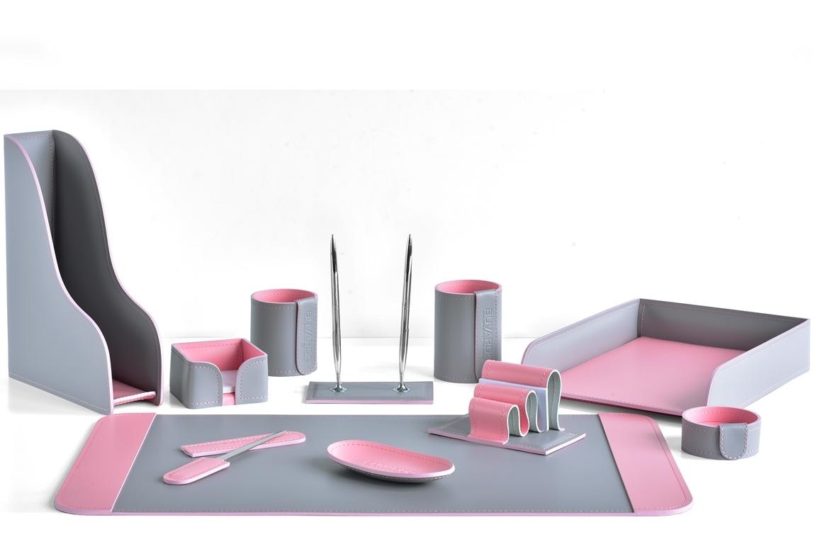Настольный кожаный набор цвет серый/розовый для женщины - руководителя