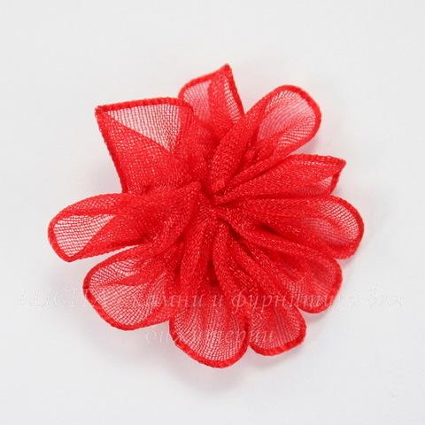 Цветочек красный из органзы 28 мм ()
