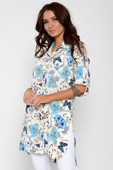 <p>Хит сезона! Отличный летний вариант. Рубашка удлиненная с разрезами. Ворот на стойке. Рукав до локтя с патой. (Длинны: 44-93см; 46-94см; 48-95см; 50-96см; 52-98см)</p>
