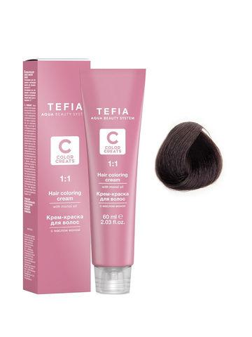 Крем-краска для волос с маслом монои 5.81 светлый брюнет шоколад пепельный 60 мл COLOR CREATS Tefia