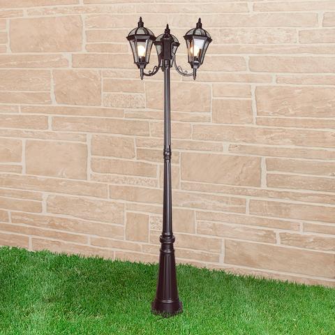 Уличный трехрожковый светильник на столбе IP44 Capella F/3 черный