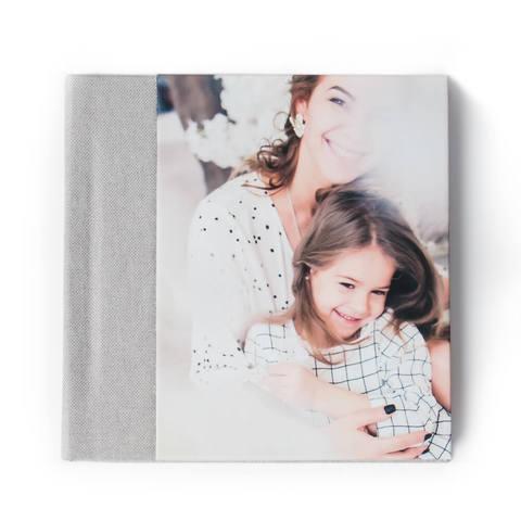 30x30 фотокнига с фото-обложкой+ текстильный торец