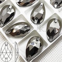 Купить черные металлик пришивные стразы Jet Hematite, Drope