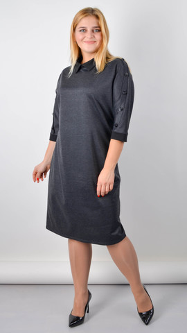 Доротея. Женское платье большого размера. Графит.