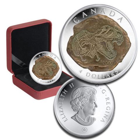 4 доллара Окаменелость тираннозавра. Канада. 2009 год. PROOF