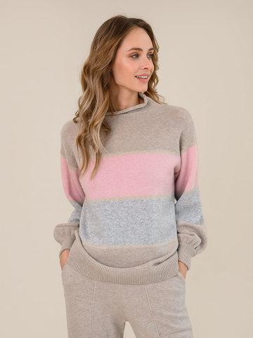 Женский свитер бежевого цвета из шерсти и кашемира в полоску - фото 2