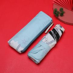 Маленький плоский зонт с защитой от УФ, 6 спиц, Япония (мятный с цветами и белой кромкой)