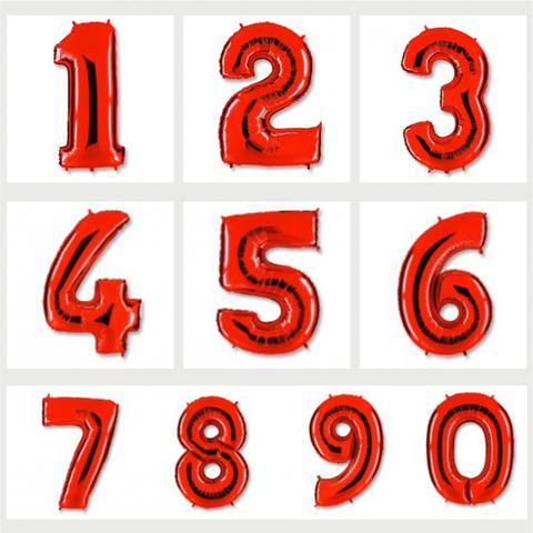Цифра фольгированная красная 101 см.