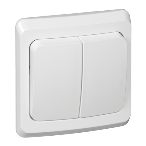 Выключатель двухклавишный (схема 5) 10 АХ 250 В. Цвет Белый. Schneider Electric(Шнайдер электрик). Этюд. BC10-002B
