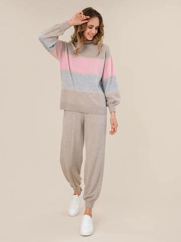 Женский свитер бежевого цвета из шерсти и кашемира в полоску - фото 5