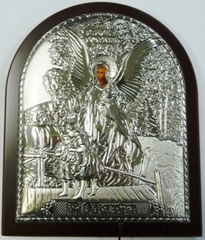Серебряная икона Ангела Хранителя ребенка 16х12см