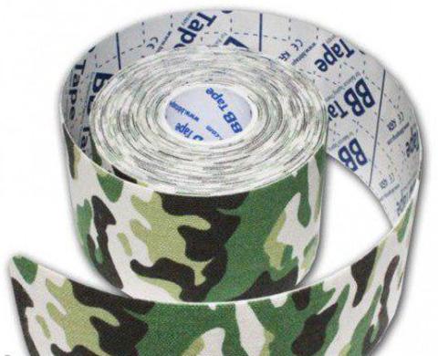 BBtape кинезио тейп 5см х 5м зеленый камуфляж