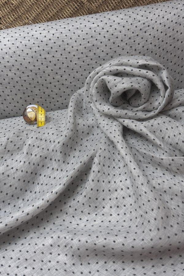 Смягченная льняная вуаль серый меланж + черный горошек.