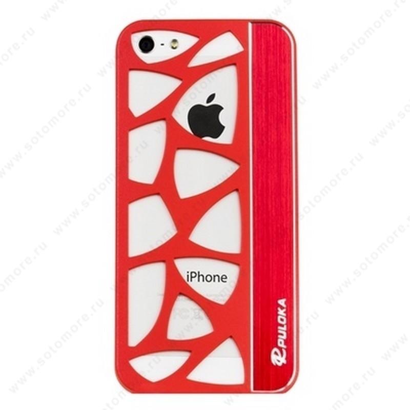 Накладка R PULOKA для iPhone SE/ 5s/ 5C/ 5 с отверстиями красная