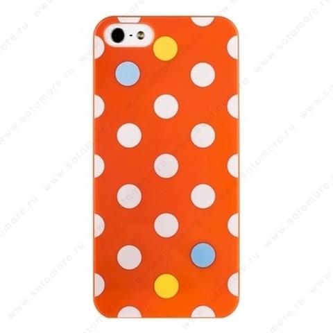 Накладка iPsky для iPhone SE/ 5s/ 5C/ 5 горошек оранжевая