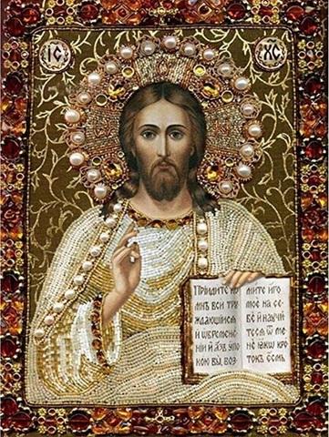 Алмазная Мозаика 30x40 Икона Господь Вседержитель (арт. X204)