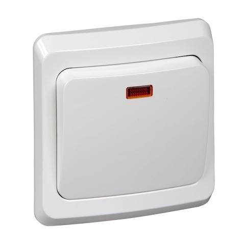 Выключатель одноклавишный с подсветкой (схема 1) 10 АХ 250 В. Цвет Белый. Schneider Electric(Шнайдер электрик). Этюд. BC10-005B
