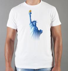Футболка с принтом США, Статуя Свободы (USA/ Statue of Liberty ) белая 004