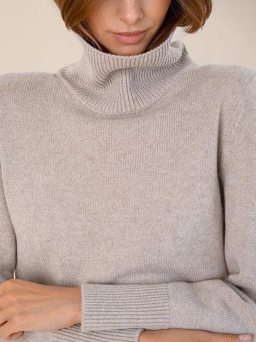 Женский свитер бежевого цвета из шерсти и кашемира - фото 3