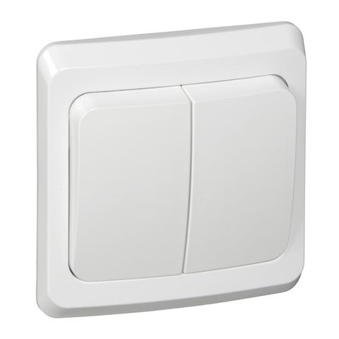 Выключатель двухклавишный с контурной подсветкой (схема 5) 10 АХ 250 В. Цвет Белый. Schneider Electric(Шнайдер электрик). Этюд. BC10-006B