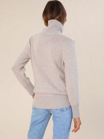 Женский свитер бежевого цвета из шерсти и кашемира - фото 4