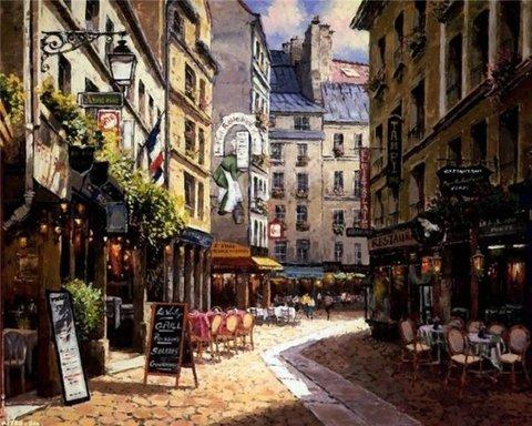 Алмазная Мозаика 38x28 Прогулка по улице Парижа (арт. K1756)