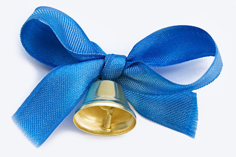 Колокольчик средний для выпускников с синей лентой и булавкой
