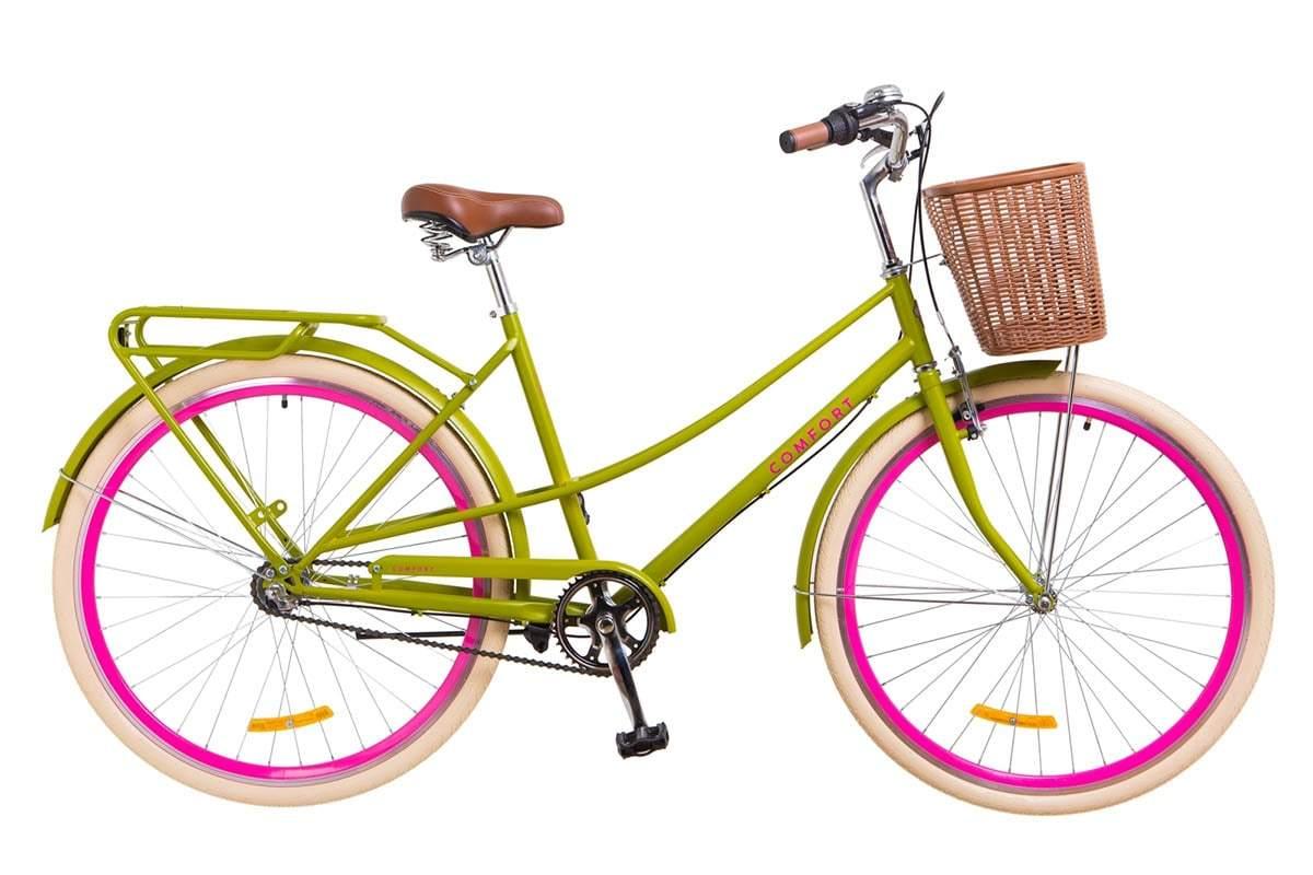 Міський жіночий 3-х швидкісний велосипед Dorozhnik Comfort Female PH 2018 салатового кольору