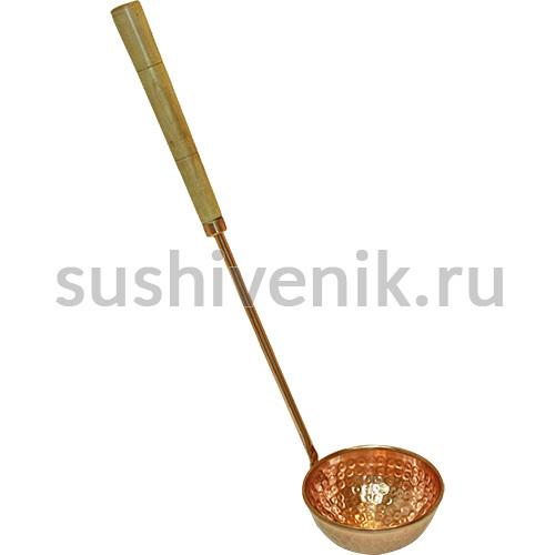 Ковш медный, деревянная ручка