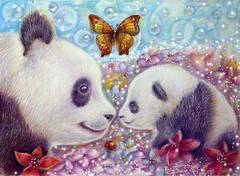 Картина раскраска по номерам 40x50 Семья панд