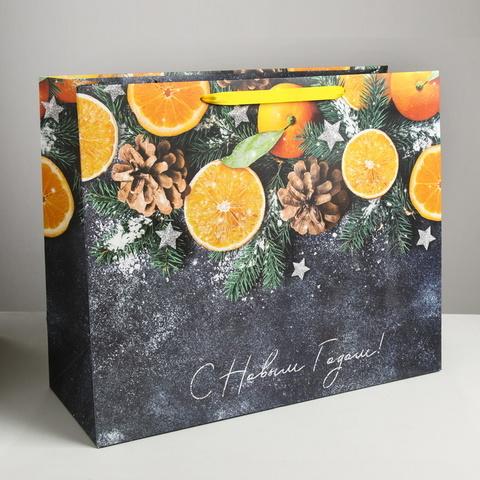 Пакет ламинированный горизонтальный «Мандарины» 49 × 40 × 19 см