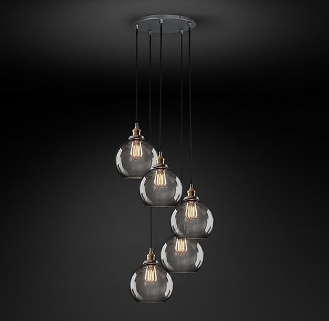 Подвесной светильник копия 20th C. Factory Filament Smoke Glass Caf? Round   Pendant by Restoration Hardware