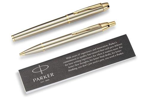 Подарочный набор из 2-х ручек  Parker IM brushed metal  GT роллер+шариковая ручки123