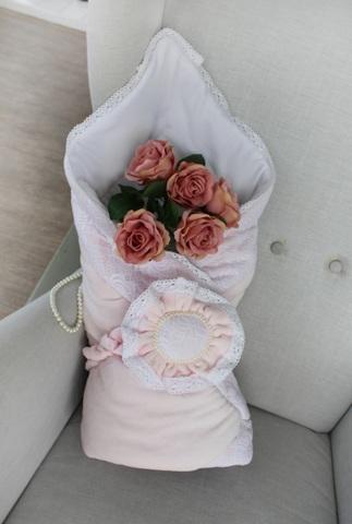 Демисезонный конверт одеяло на выписку Розовый цветок