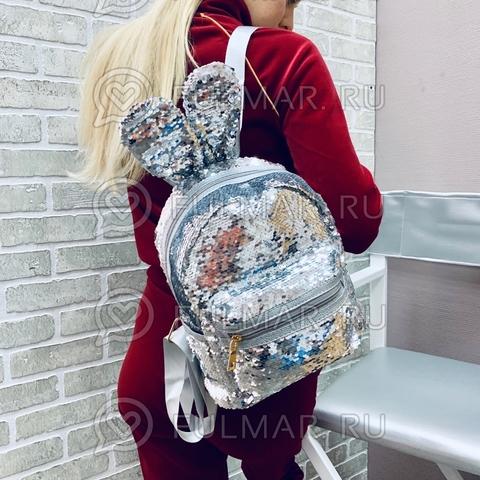 Рюкзак с пайетками и ушами зайца Банни Серебристый-Зеркальный меняющий цвет