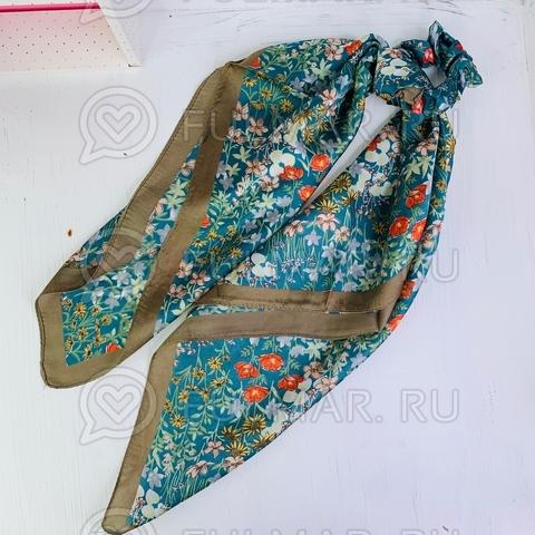 Платок с резинкой модный аксессуар для волос Поляна цветов (цвет: бирюзовый)