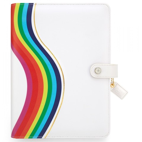Планер БЕЗ внутреннего наполнения A5 -Color Crush A5 Faux Leather 6-Ring Planner Binder.  -Rainbow