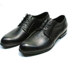 Черные кожаные туфли на выпускной имужские Ikoc 060-1 ClassicBlack.