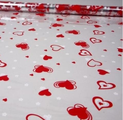 Пленка цветная Валентин 70см х 7м Цвет: красно-белый