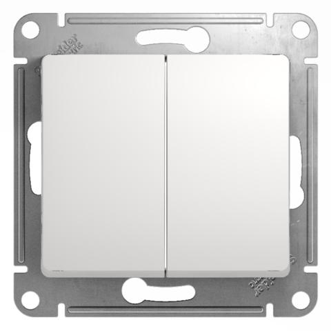 Выключатель двухклавишный, 10АХ. Цвет Белый. Schneider Electric Glossa. GSL000151