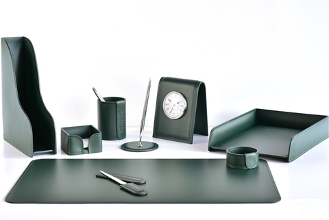 Настольный набор 9 предметов из кожи цвет зеленый