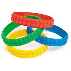 Colour Brick Block Rubber Bracelets - Pack of 4 - Party Bag Fillers
