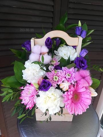 Цветы в деревянной коробочке #6619