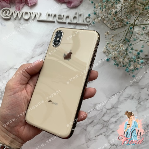 Чехол iPhone X/XS Glass Silicone Case Logo /gold/